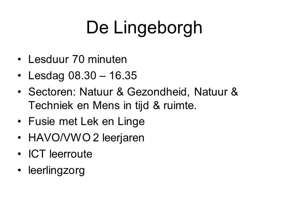 De Lingeborgh Lesduur 70 minuten Lesdag 08.30 – 16.35 Sectoren: Natuur & Gezondheid, Natuur & Techniek en Mens in tijd & ruimte. Fusie met Lek en Ling