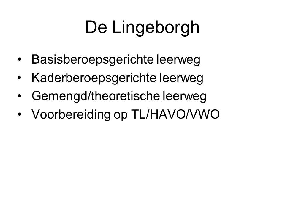 De Lingeborgh Basisberoepsgerichte leerweg Kaderberoepsgerichte leerweg Gemengd/theoretische leerweg Voorbereiding op TL/HAVO/VWO