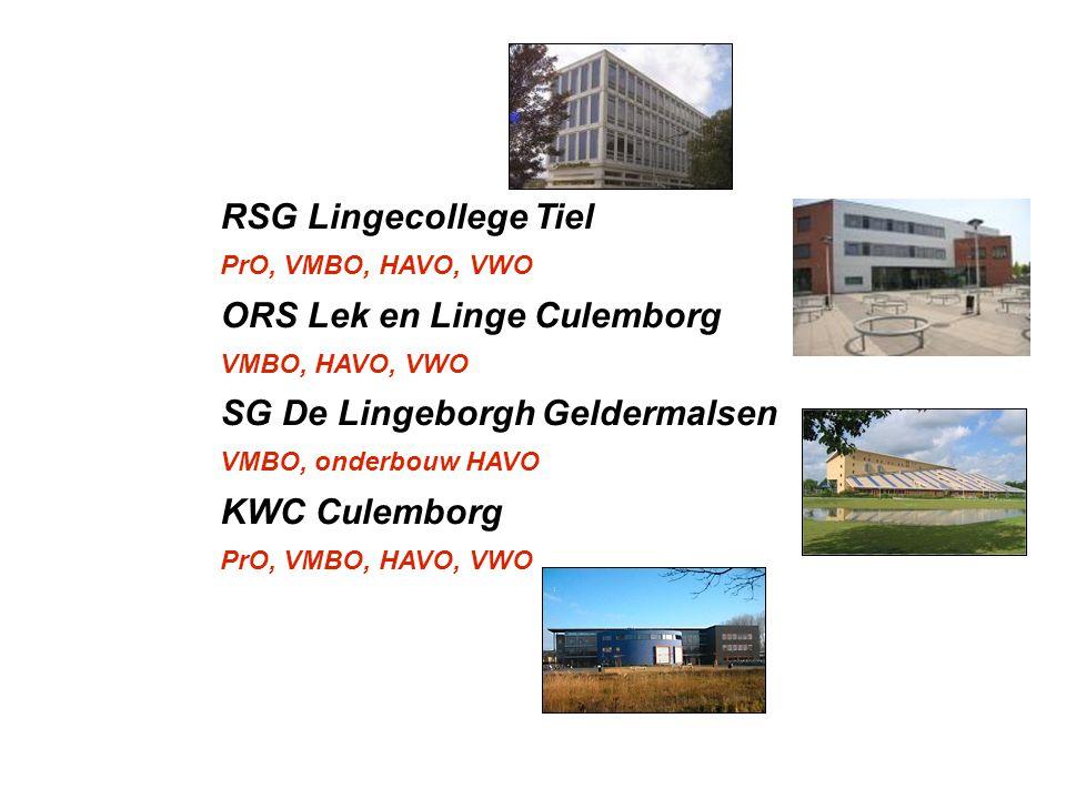 RSG Lingecollege Tiel PrO, VMBO, HAVO, VWO ORS Lek en Linge Culemborg VMBO, HAVO, VWO SG De Lingeborgh Geldermalsen VMBO, onderbouw HAVO KWC Culemborg
