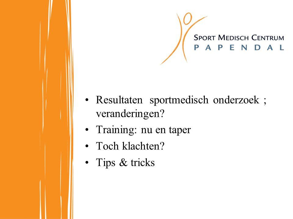 Resultaten sportmedisch onderzoek ; veranderingen.