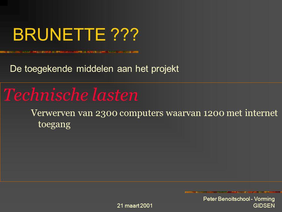 21 maart 2001 Peter Benoitschool - Vorming GIDSEN BRUNETTE ??? Financiële lasten Plaatsen data-lijnen : 15.200.000 BEF per 01/01/2001 Jaarlijks huurge