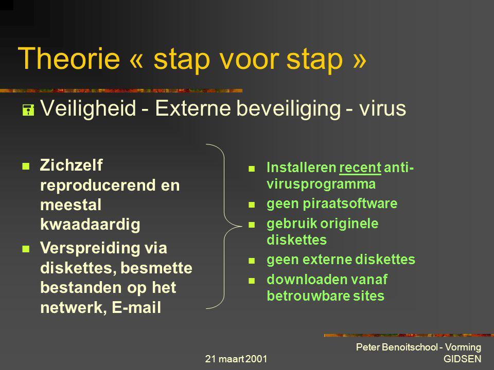 21 maart 2001 Peter Benoitschool - Vorming GIDSEN Theorie « stap voor stap »  Veiligheid - Interne beveiliging Machines toegang lokalen integriteit m