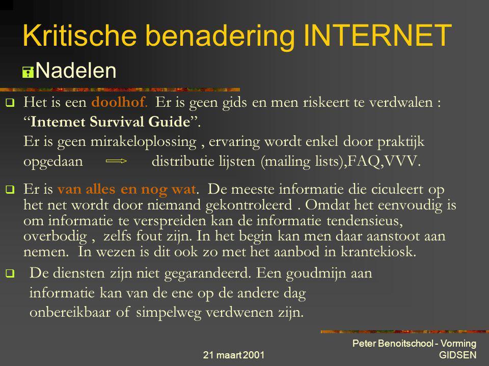 21 maart 2001 Peter Benoitschool - Vorming GIDSEN Kritische benadering INTERNET  De gebruikers zijn meestal erg sociaal en bereid om beginners goede