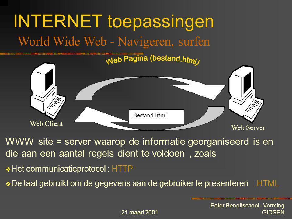21 maart 2001 Peter Benoitschool - Vorming GIDSEN INTERNET toepassingen Web Site : Verzameling gegevens opgeslagen op een computer verbonden met het W