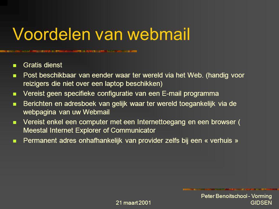 21 maart 2001 Peter Benoitschool - Vorming GIDSEN POP3 SERVICE Een POP3 (Post Office Protocol) is een systeem dat door het mail-client programma gebru