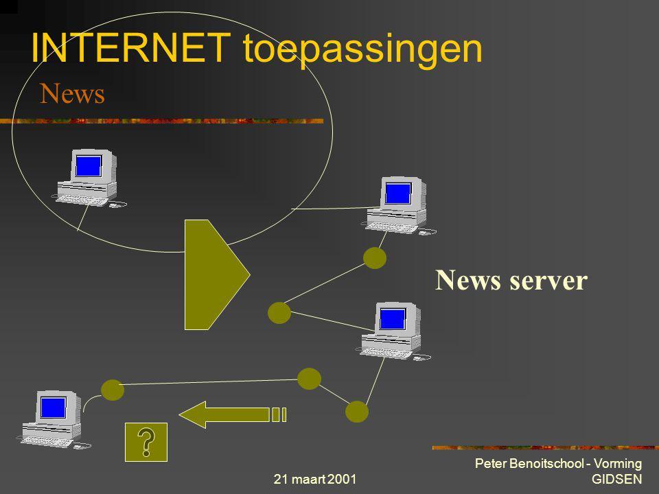 21 maart 2001 Peter Benoitschool - Vorming GIDSEN INTERNET toepassingen = Nieuwsgroepen = Usenet = Discussielijsten Principe is eenvoudig : nadat een