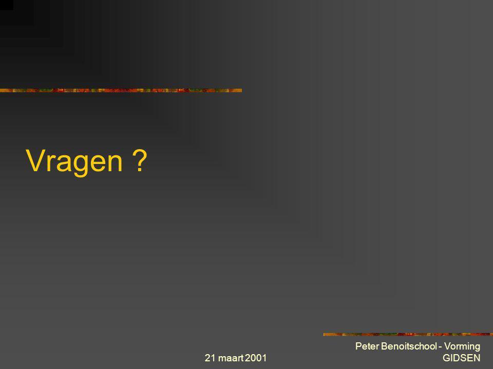21 maart 2001 Peter Benoitschool - Vorming GIDSEN INTERNET toepassingen News News server