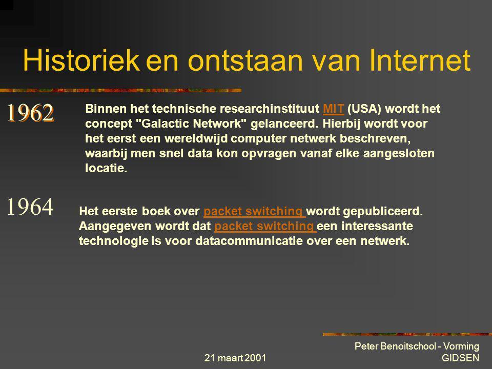 21 maart 2001 Peter Benoitschool - Vorming GIDSEN Historiek en ontstaan van Internet Van ARPA over ARPANET naar INTERNET De oorsprong van Internet sit