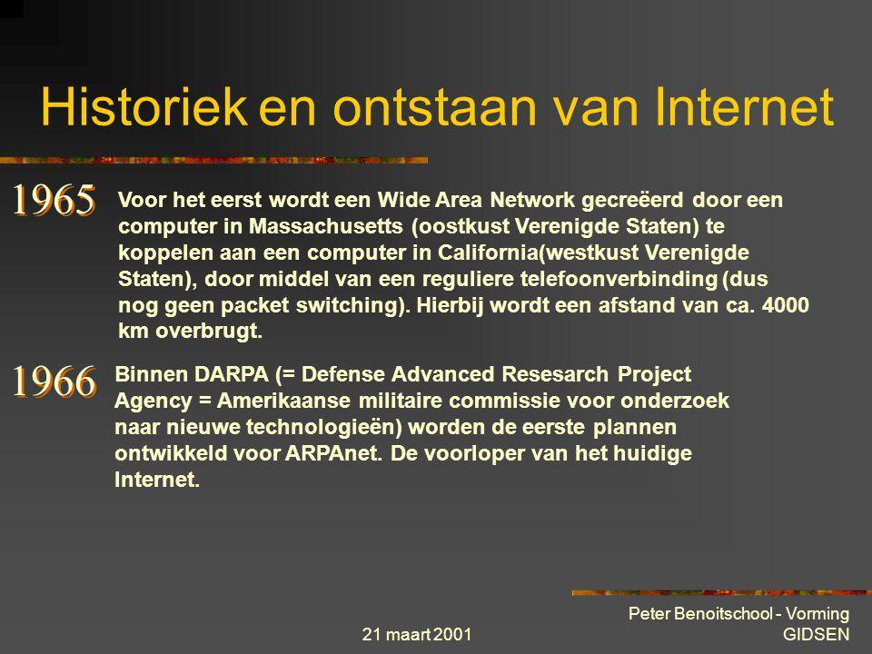 21 maart 2001 Peter Benoitschool - Vorming GIDSEN Historiek en ontstaan van Internet Binnen het technische researchinstituut MIT (USA) wordt het conce