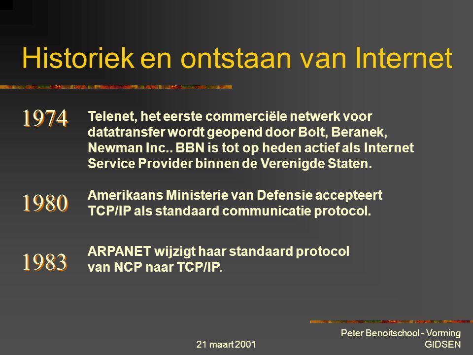 21 maart 2001 Peter Benoitschool - Vorming GIDSEN Historiek en ontstaan van Internet 1973 De eerste internationale verbindingen van het ARPAnet worden