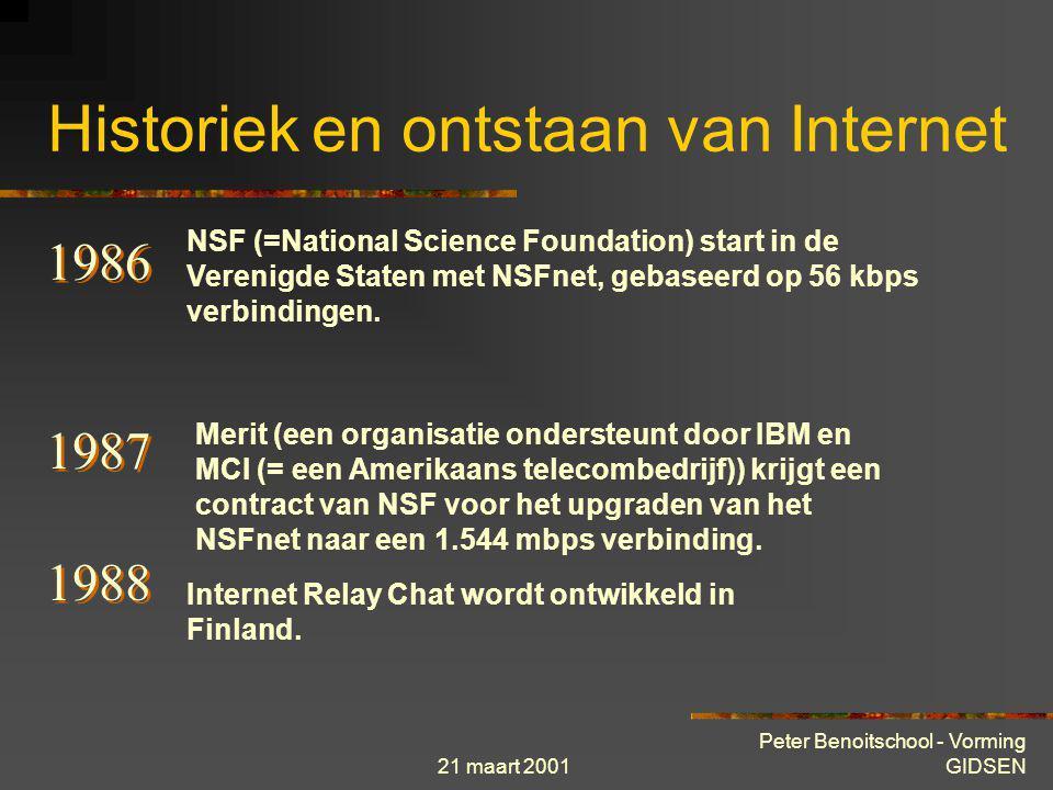 21 maart 2001 Peter Benoitschool - Vorming GIDSEN Historiek en ontstaan van Internet 1974 Telenet, het eerste commerciële netwerk voor datatransfer wo