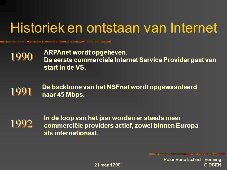 21 maart 2001 Peter Benoitschool - Vorming GIDSEN Historiek en ontstaan van Internet 1989 Het concept voor het World Wide Web wordt geformuleerd binne