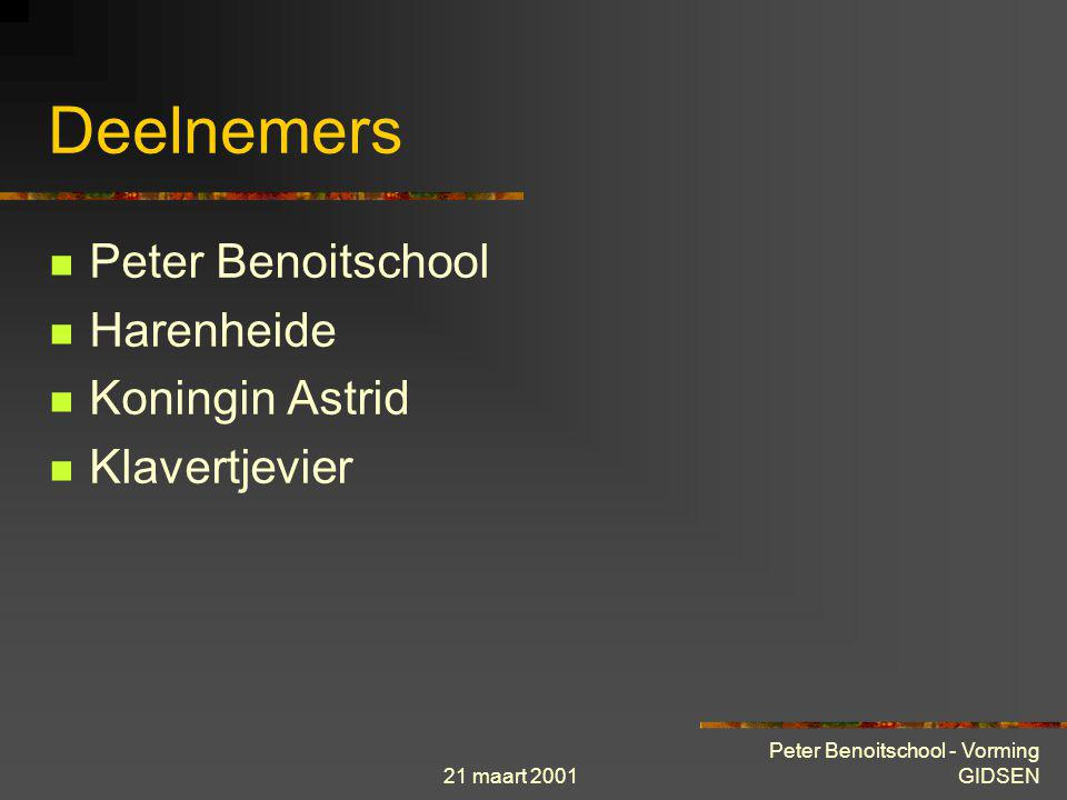 21 maart 2001 Peter Benoitschool - Vorming GIDSEN Gidsen Gidsen zijn na hun opleiding in staat om leerlingen bij te staan in hun opzoekingen op het Internet Deze cursus is toegankelijk voor iedereen voorgedragen door het hoofd van de instelling