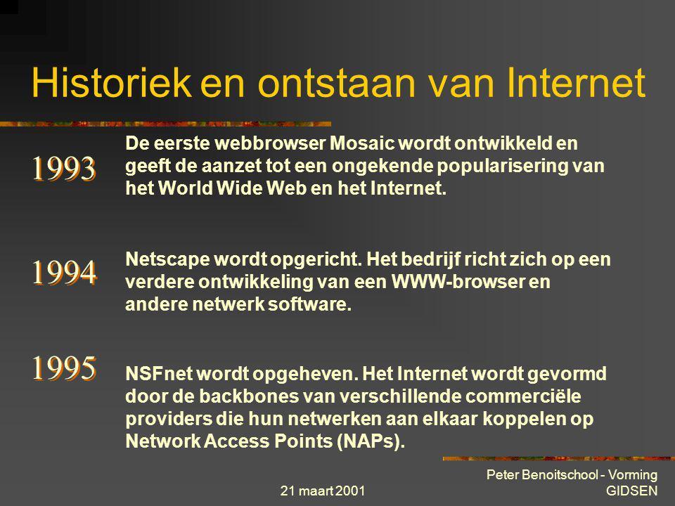 21 maart 2001 Peter Benoitschool - Vorming GIDSEN Historiek en ontstaan van Internet 1990 ARPAnet wordt opgeheven. De eerste commerciële Internet Serv
