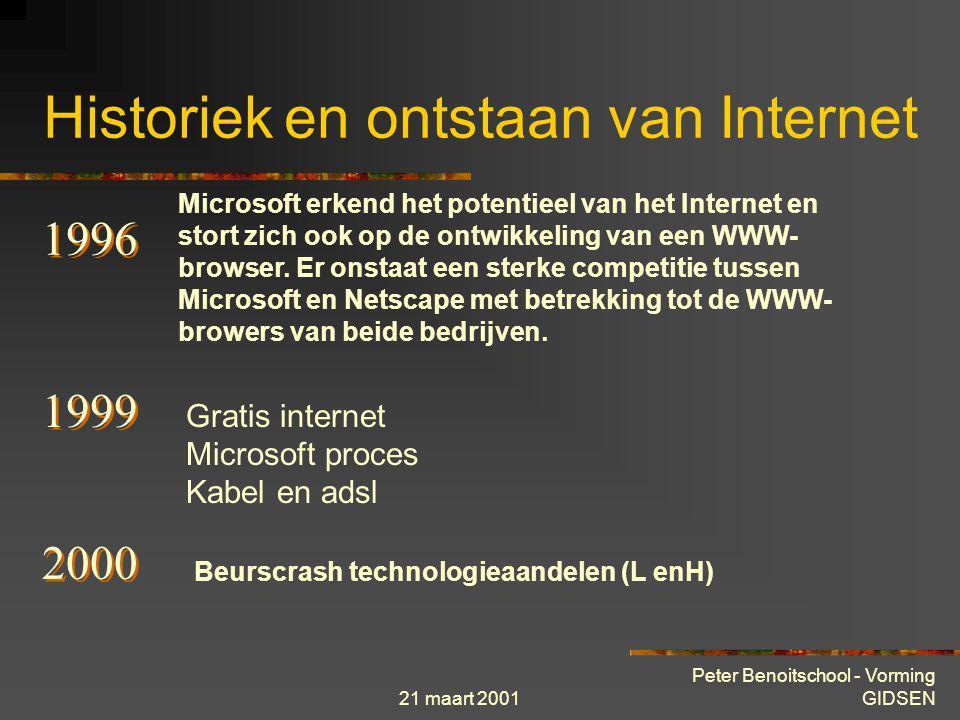 21 maart 2001 Peter Benoitschool - Vorming GIDSEN Historiek en ontstaan van Internet 1993 De eerste webbrowser Mosaic wordt ontwikkeld en geeft de aan