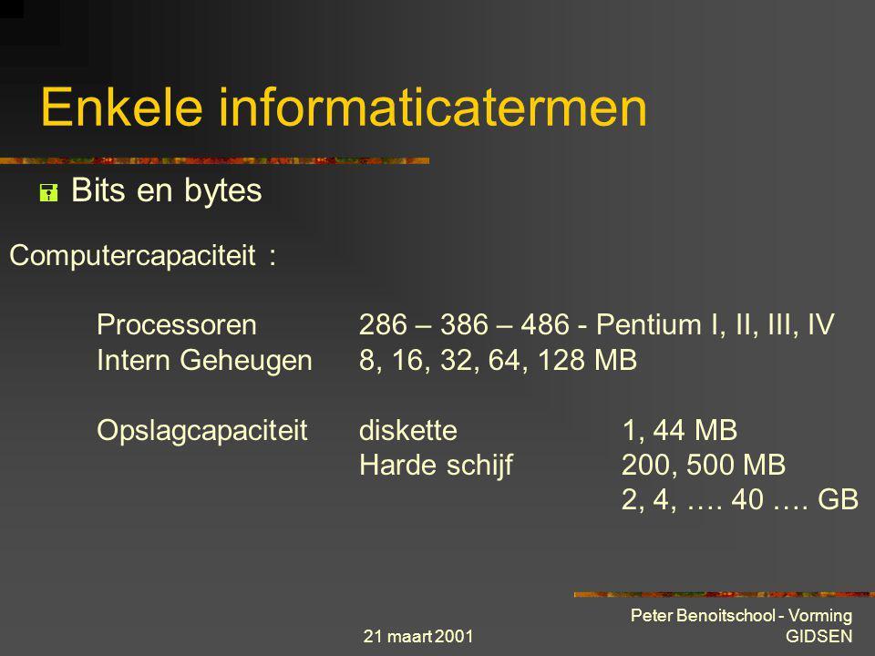 21 maart 2001 Peter Benoitschool - Vorming GIDSEN Enkele informaticatermen  Bits en bytes De kilo-byte 1 Kb 1024 bytes De mega-byte 1 Mb 1024 Kb De g