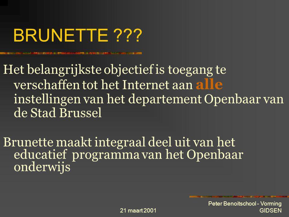 21 maart 2001 Peter Benoitschool - Vorming GIDSEN Historiek en ontstaan van Internet 1973 De eerste internationale verbindingen van het ARPAnet worden gelegd naar Engeland en Noorwegen.