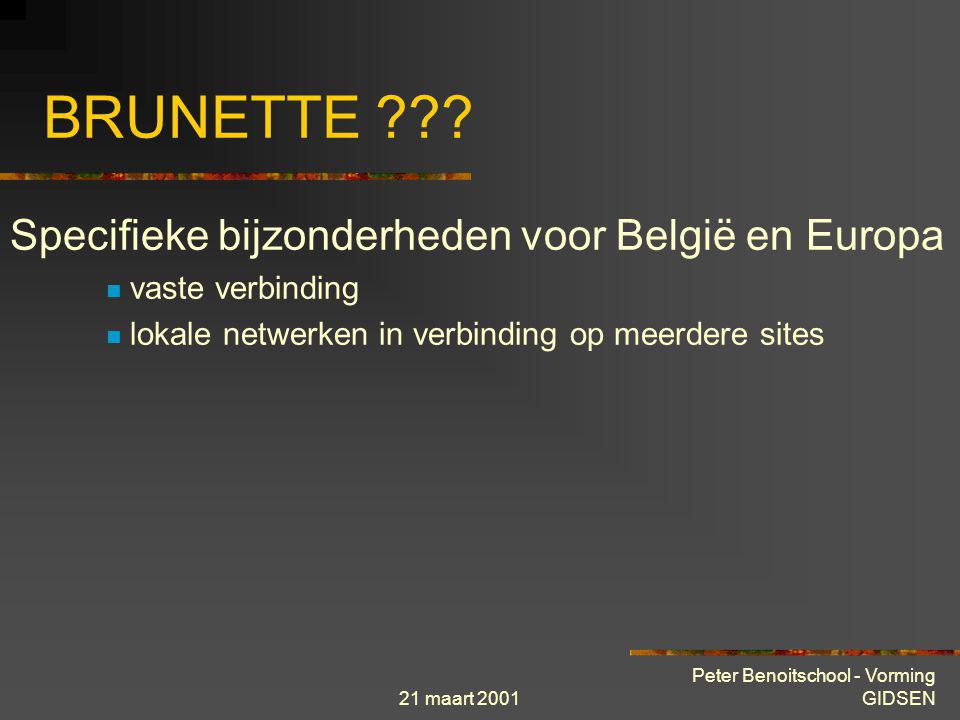 21 maart 2001 Peter Benoitschool - Vorming GIDSEN lokaal netwerk site 1 site 2 site 3 site 4 site n Firewall BRUNETTE Administratief Centrum Firewall INTERNET Scholen, Bibliotheek...
