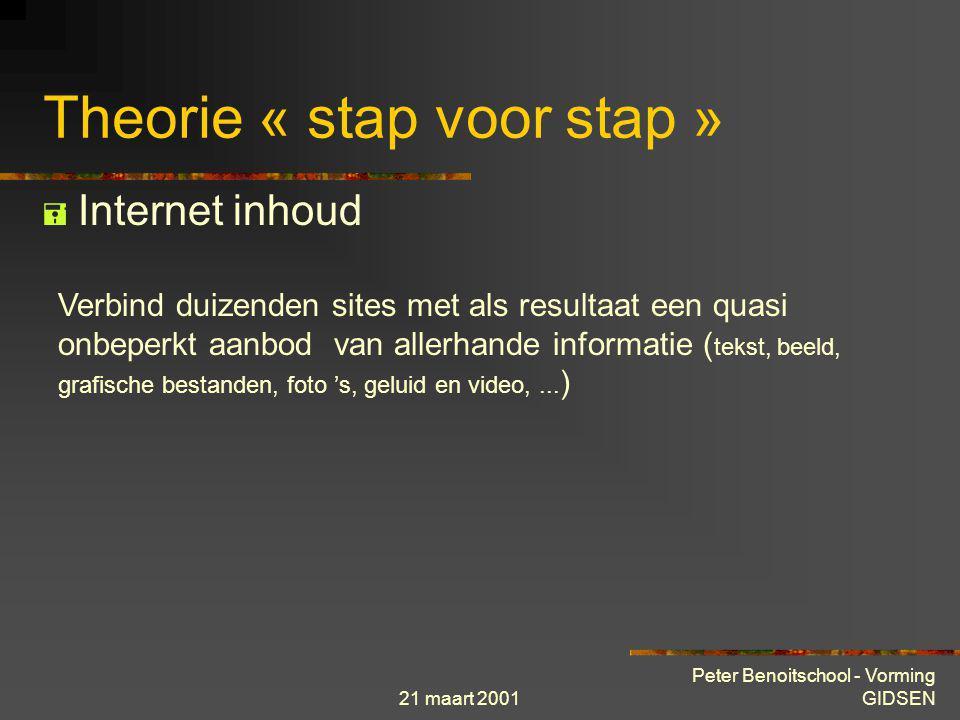 21 maart 2001 Peter Benoitschool - Vorming GIDSEN Theorie « stap voor stap »  Internet enkele cijfers België 2.836.000 personen beschikken over toega