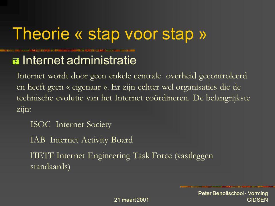 21 maart 2001 Peter Benoitschool - Vorming GIDSEN Theorie « stap voor stap »  Internet inhoud Software (freeware, shareware) Aanbevelingen, normen en