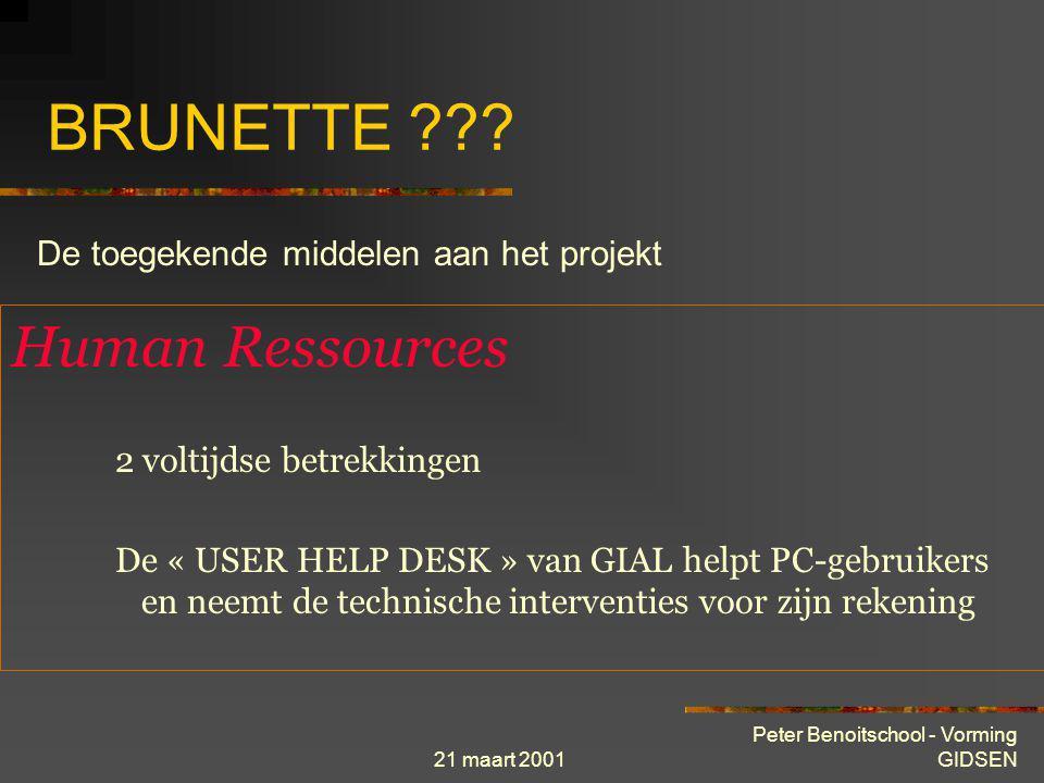 21 maart 2001 Peter Benoitschool - Vorming GIDSEN BRUNETTE ??? Methodologie Studie bestaande situatie en analyse behoeften implantatie locale netwerke