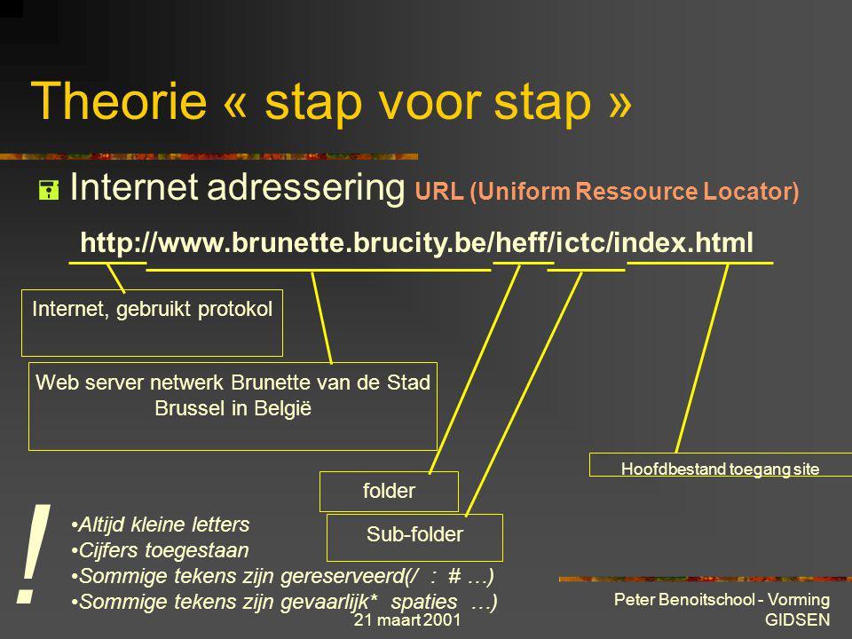 21 maart 2001 Peter Benoitschool - Vorming GIDSEN Theorie « stap voor stap »  Internet adressering E-Mail (Electronic Mail) naam_gebruiker@organisati