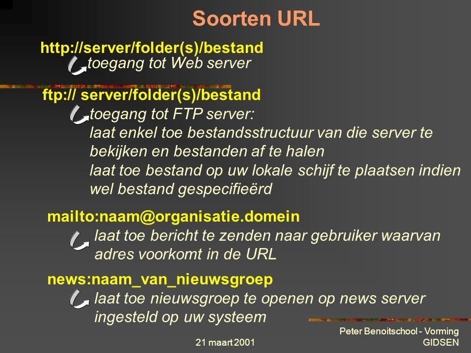 21 maart 2001 Peter Benoitschool - Vorming GIDSEN Theorie « stap voor stap »  Internet adressering URL (Uniform Ressource Locator) http://www.brunett