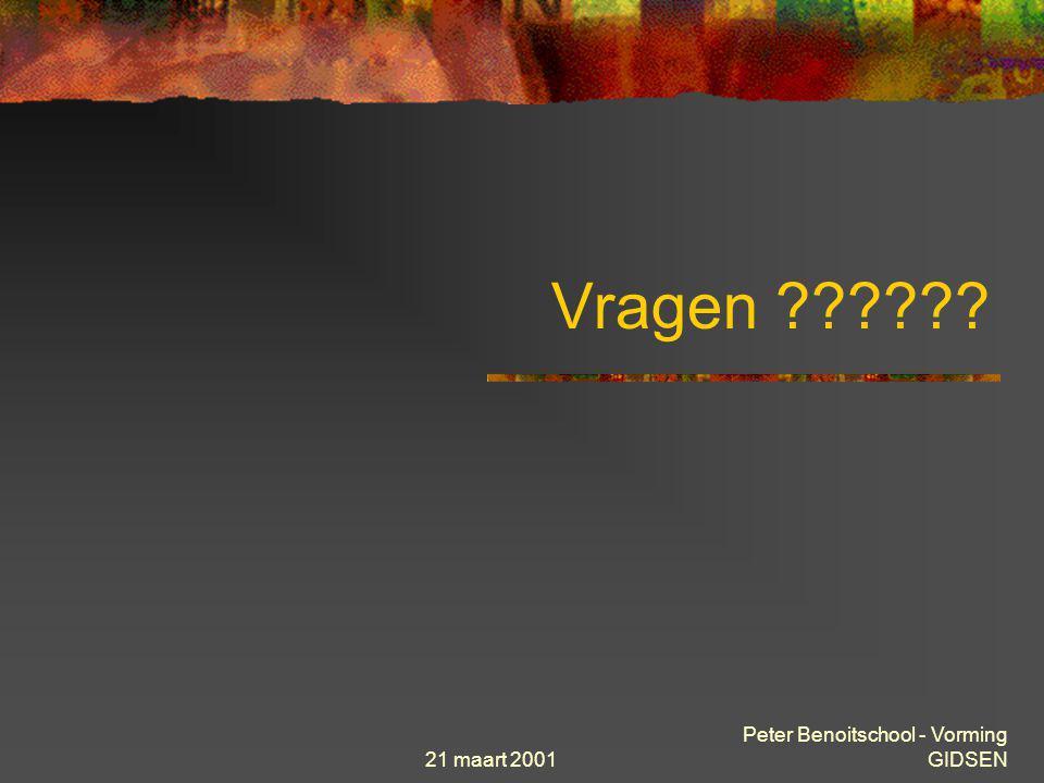 21 maart 2001 Peter Benoitschool - Vorming GIDSEN Soorten URL http://server/folder(s)/bestand toegang tot Web server ftp:// server/folder(s)/bestand t