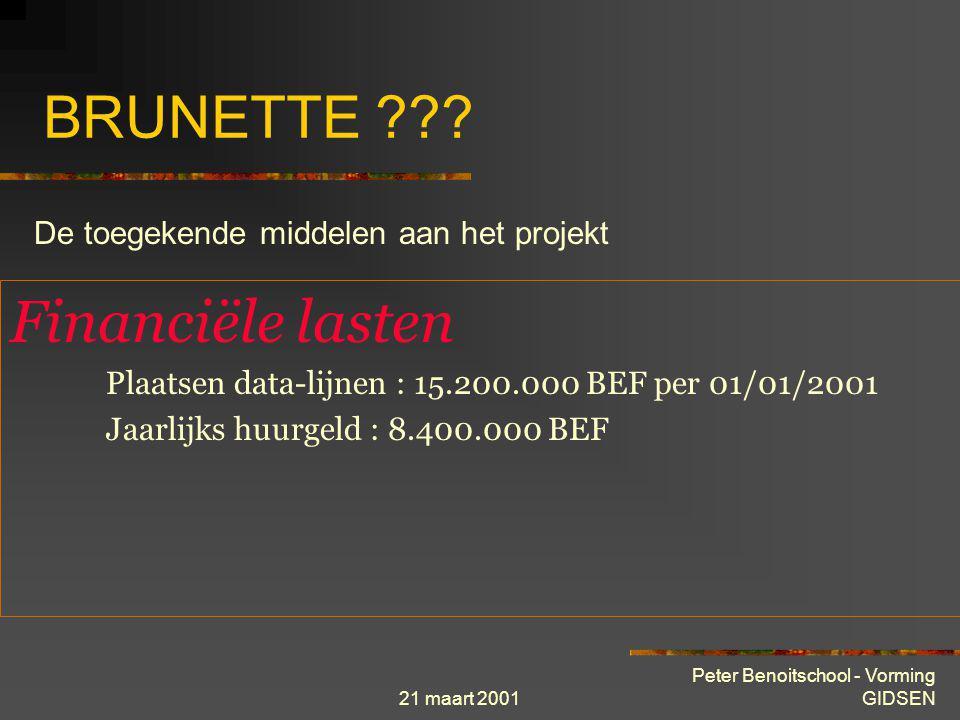 21 maart 2001 Peter Benoitschool - Vorming GIDSEN BRUNETTE ??? Human Ressources 2 voltijdse betrekkingen De « USER HELP DESK » van GIAL helpt PC-gebru