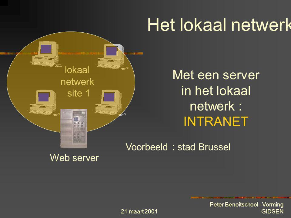 21 maart 2001 Peter Benoitschool - Vorming GIDSEN lokaal netwerk site 1 Lokaal netwerk = LAN Het lokaal netwerk