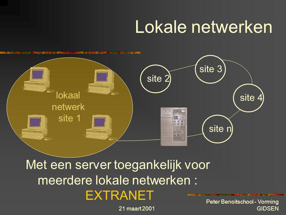 21 maart 2001 Peter Benoitschool - Vorming GIDSEN lokaal netwerk site 1 site 2 site 3 site 4 site n Onderling verbonden lokale netwerken : WAN Lokale