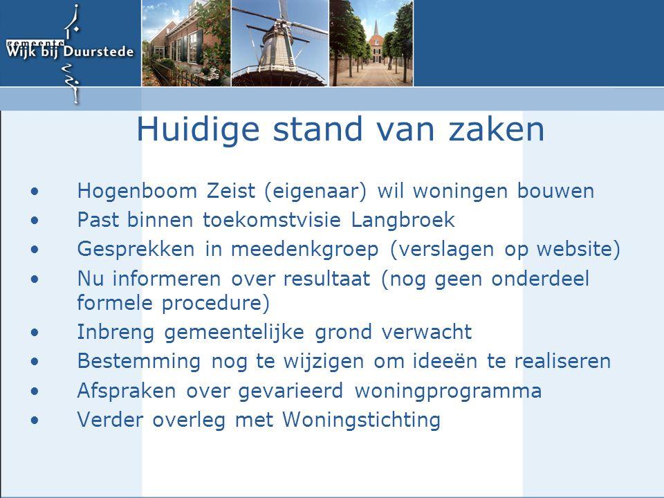 Hogenboom Zeist (eigenaar) wil woningen bouwen Past binnen toekomstvisie Langbroek Gesprekken in meedenkgroep (verslagen op website) Nu informeren ove