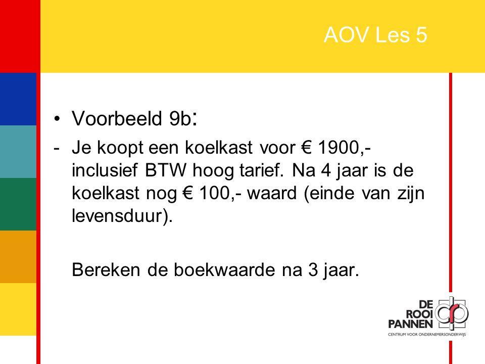 28 AOV Les 5 Voorbeeld 9b : -Je koopt een koelkast voor € 1900,- inclusief BTW hoog tarief. Na 4 jaar is de koelkast nog € 100,- waard (einde van zijn
