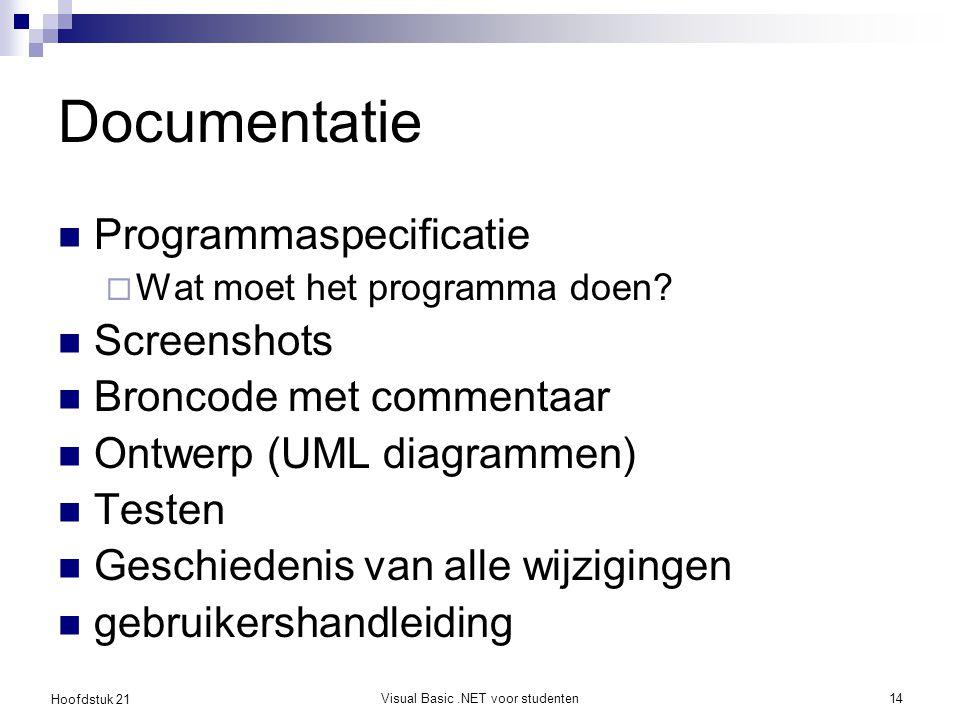 Hoofdstuk 21 Visual Basic.NET voor studenten14 Documentatie Programmaspecificatie  Wat moet het programma doen.