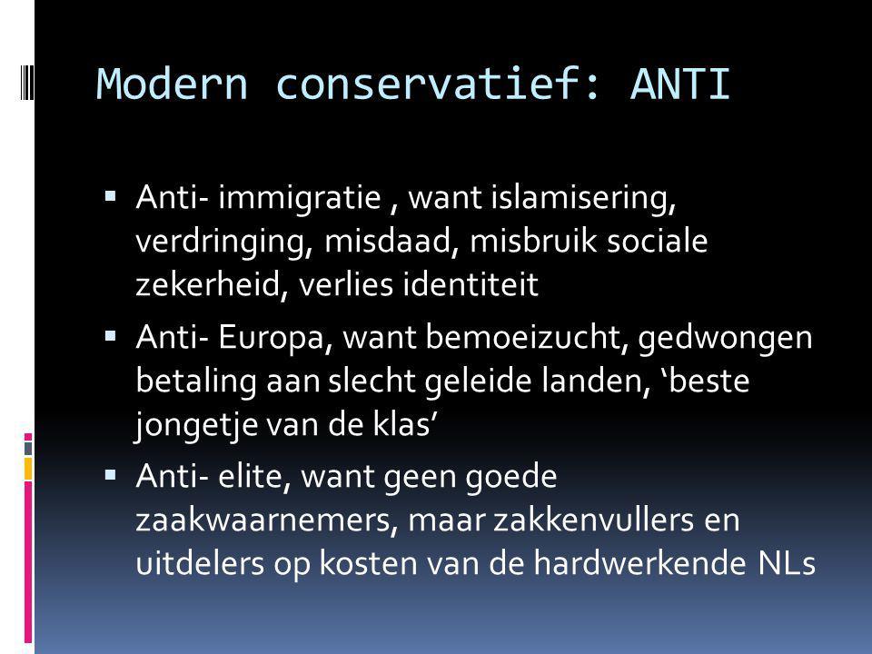 Modern conservatief: ANTI  Anti- immigratie, want islamisering, verdringing, misdaad, misbruik sociale zekerheid, verlies identiteit  Anti- Europa, want bemoeizucht, gedwongen betaling aan slecht geleide landen, 'beste jongetje van de klas'  Anti- elite, want geen goede zaakwaarnemers, maar zakkenvullers en uitdelers op kosten van de hardwerkende NLs