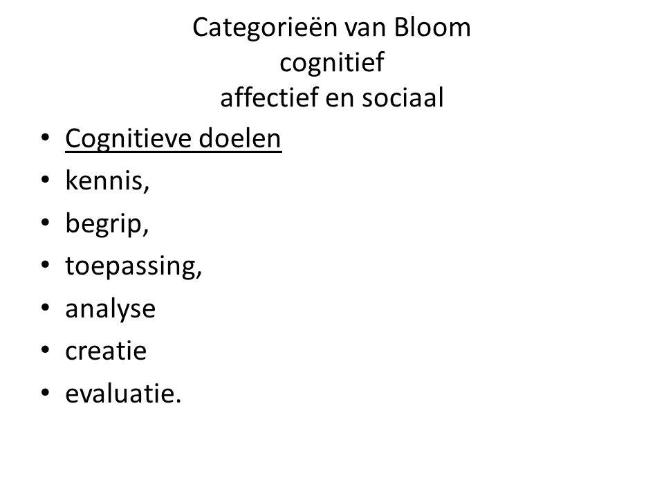 Categorieën van Bloom cognitief affectief en sociaal Cognitieve doelen kennis, begrip, toepassing, analyse creatie evaluatie.