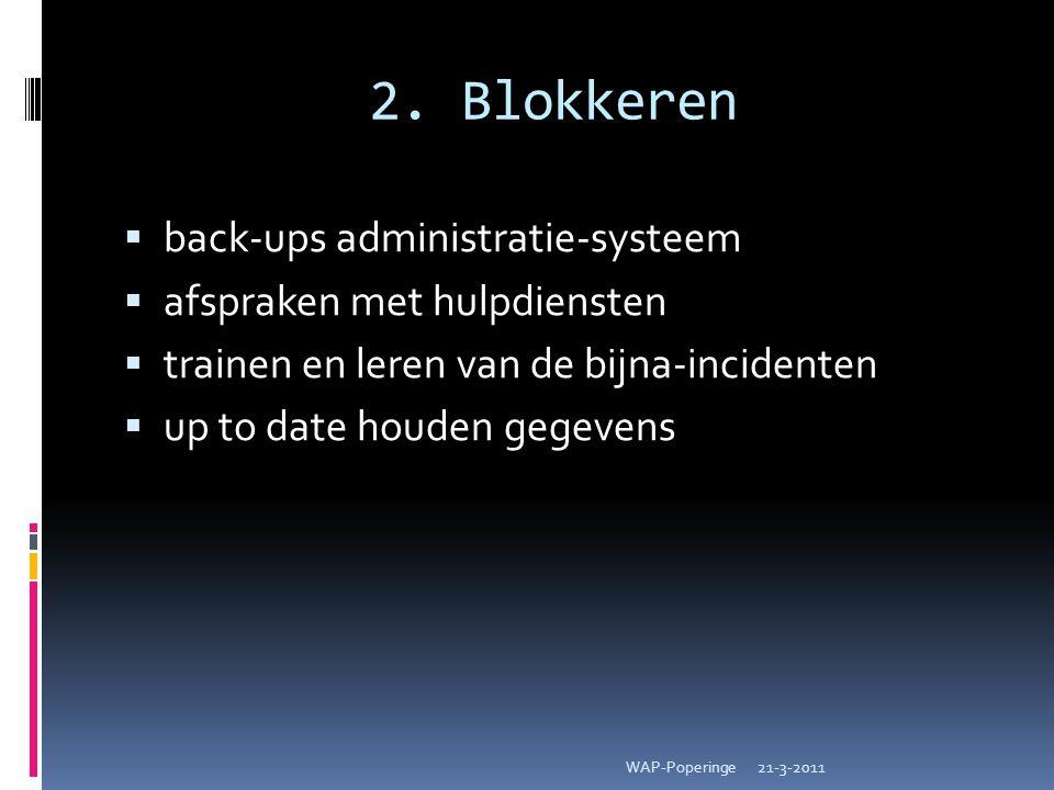 2. Blokkeren  back-ups administratie-systeem  afspraken met hulpdiensten  trainen en leren van de bijna-incidenten  up to date houden gegevens 21-
