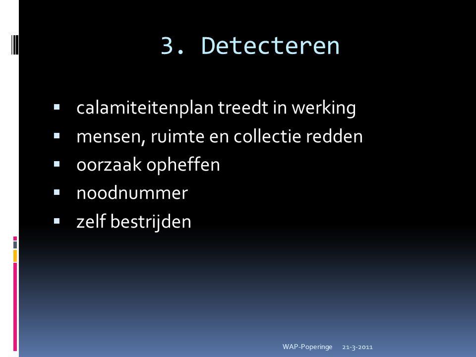 3. Detecteren  calamiteitenplan treedt in werking  mensen, ruimte en collectie redden  oorzaak opheffen  noodnummer  zelf bestrijden 21-3-2011WAP