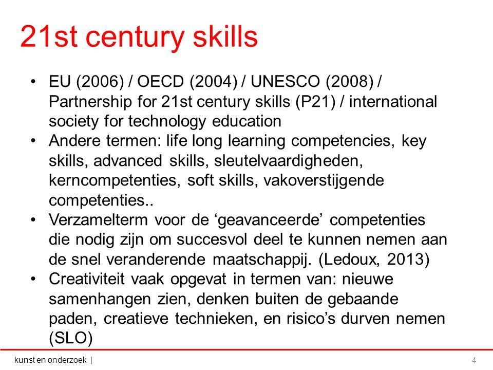 kunst en onderzoek | 21st century skills 4 EU (2006) / OECD (2004) / UNESCO (2008) / Partnership for 21st century skills (P21) / international society