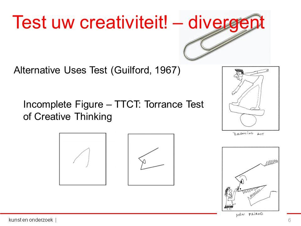 kunst en onderzoek   Test uw creativiteit! – divergent 6 Alternative Uses Test (Guilford, 1967) Incomplete Figure – TTCT: Torrance Test of Creative Th