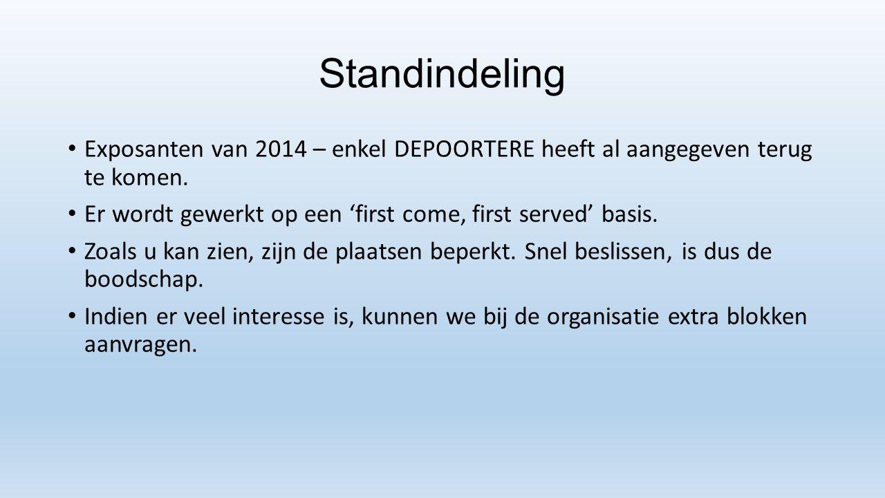 Standindeling Exposanten van 2014 – enkel DEPOORTERE heeft al aangegeven terug te komen. Er wordt gewerkt op een 'first come, first served' basis. Zoa