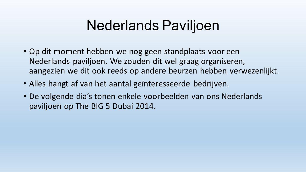Nederlands Paviljoen Op dit moment hebben we nog geen standplaats voor een Nederlands paviljoen. We zouden dit wel graag organiseren, aangezien we dit