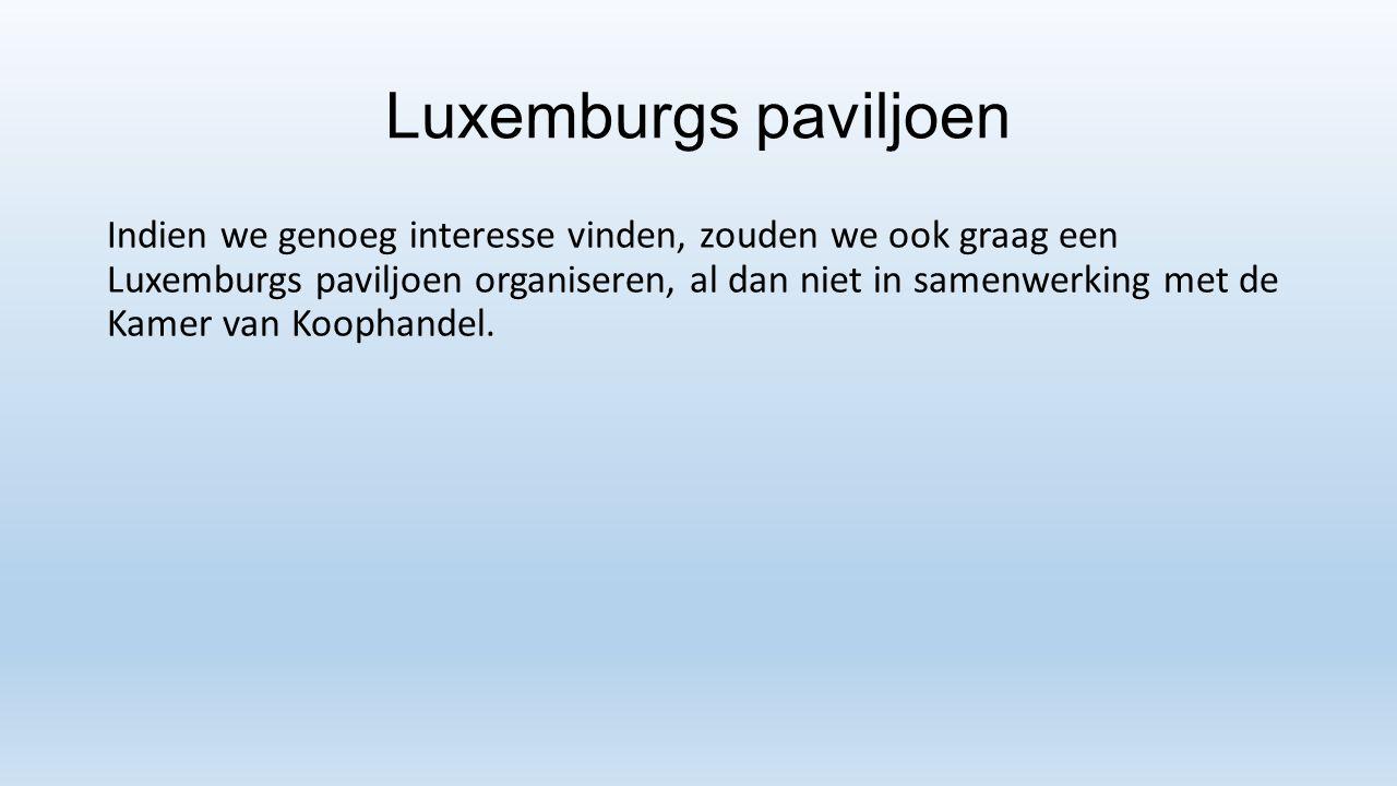Luxemburgs paviljoen Indien we genoeg interesse vinden, zouden we ook graag een Luxemburgs paviljoen organiseren, al dan niet in samenwerking met de K