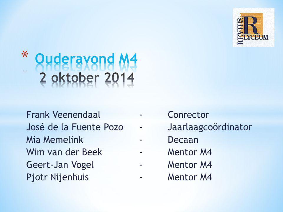 Frank Veenendaal - Conrector José de la Fuente Pozo - Jaarlaagcoördinator Mia Memelink - Decaan Wim van der Beek- Mentor M4 Geert-Jan Vogel- Mentor M4