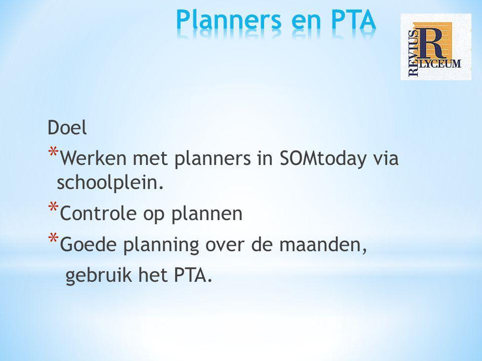 Doel * Werken met planners in SOMtoday via schoolplein. * Controle op plannen * Goede planning over de maanden, gebruik het PTA.