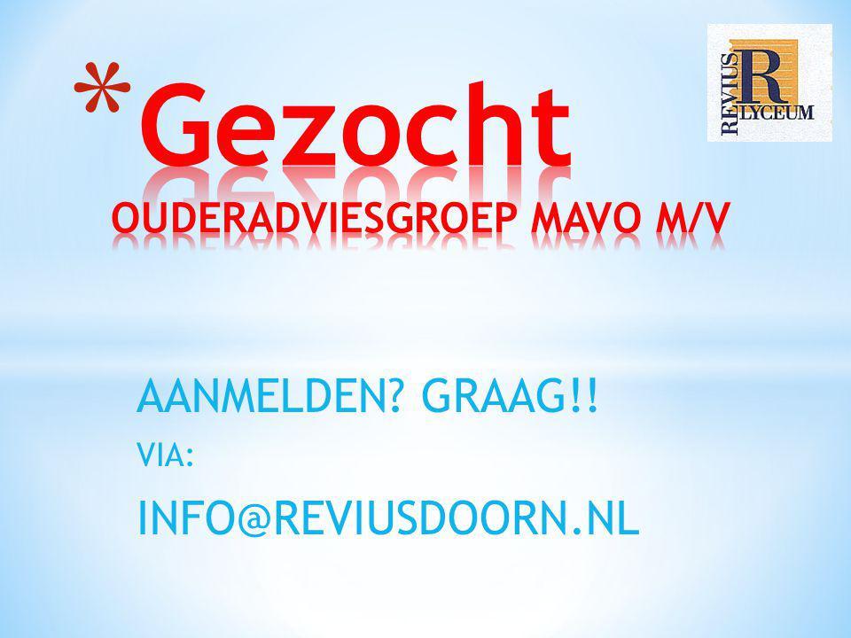 AANMELDEN? GRAAG!! VIA: INFO@REVIUSDOORN.NL