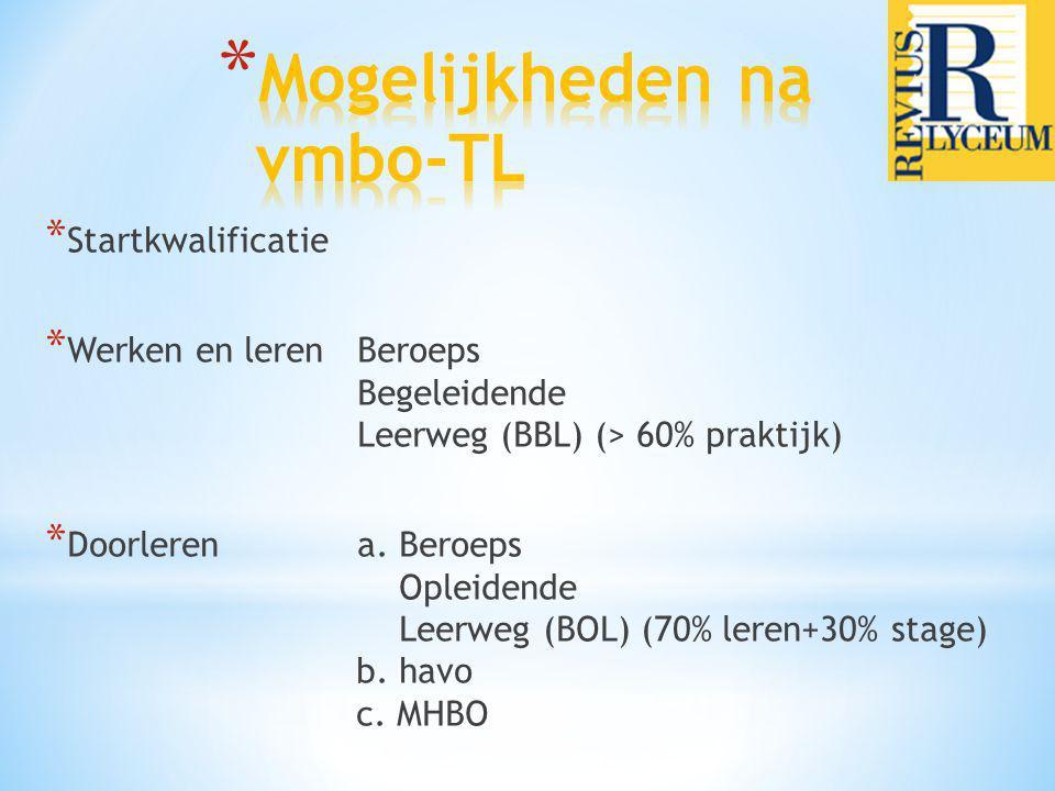 * Startkwalificatie * Werken en lerenBeroeps Begeleidende Leerweg (BBL) (> 60% praktijk) * Doorlerena. Beroeps Opleidende Leerweg (BOL) (70% leren+30%
