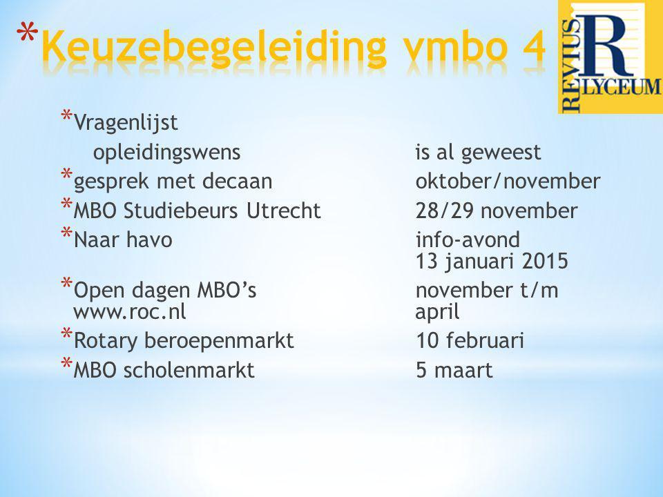 * Vragenlijst opleidingswens is al geweest * gesprek met decaan oktober/november * MBO Studiebeurs Utrecht 28/29 november * Naar havo info-avond 13 ja
