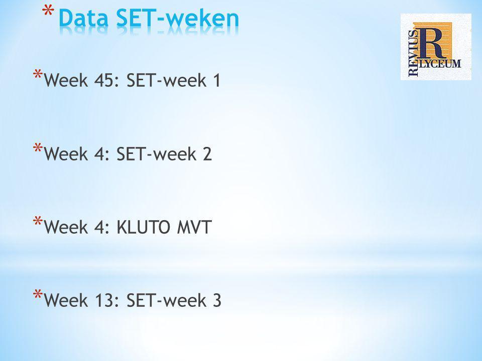 * Week 45: SET-week 1 * Week 4: SET-week 2 * Week 4: KLUTO MVT * Week 13: SET-week 3