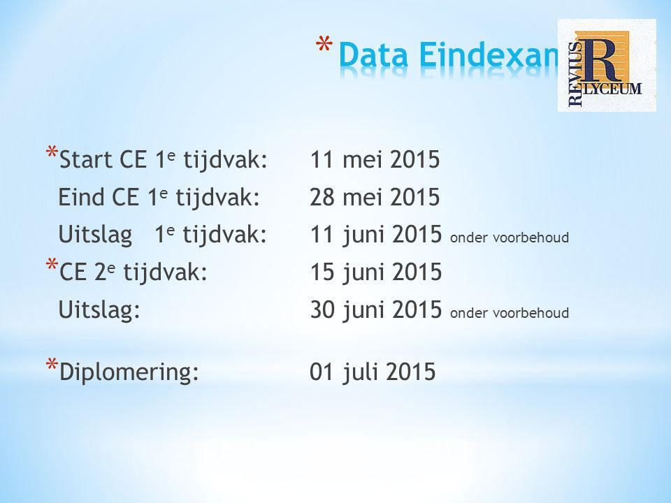 * Start CE 1 e tijdvak: 11 mei 2015 Eind CE 1 e tijdvak: 28 mei 2015 Uitslag 1 e tijdvak: 11 juni 2015 onder voorbehoud * CE 2 e tijdvak: 15 juni 2015